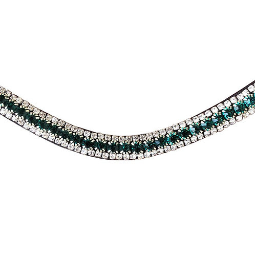 LUMIERE EMERALD CRYSTAL BROWBAND (BLACK LEATHER)