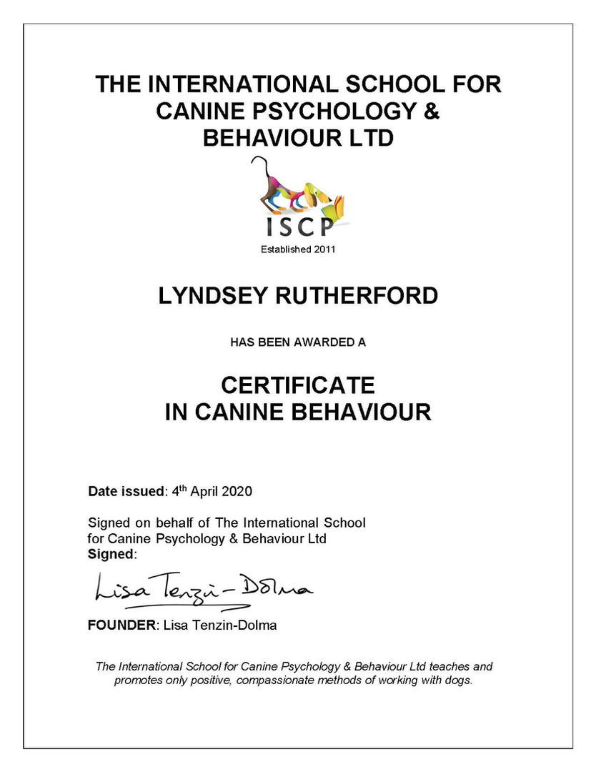 ISCP CERTIFICATE IN CANINE BEHAVIOUR Lyn