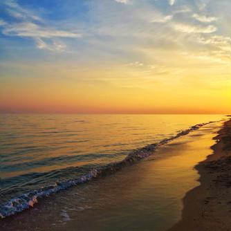 Sunset on the beach of Nea Plagia