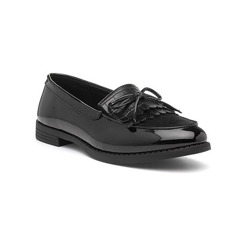 Lily Black Tassle Loafers