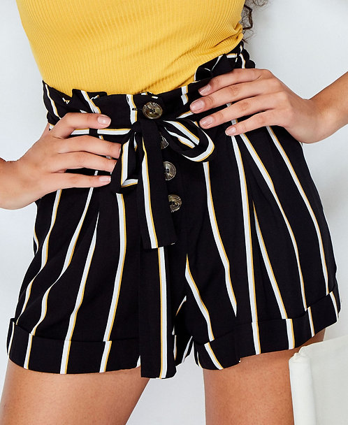 Black Striped Button Shorts