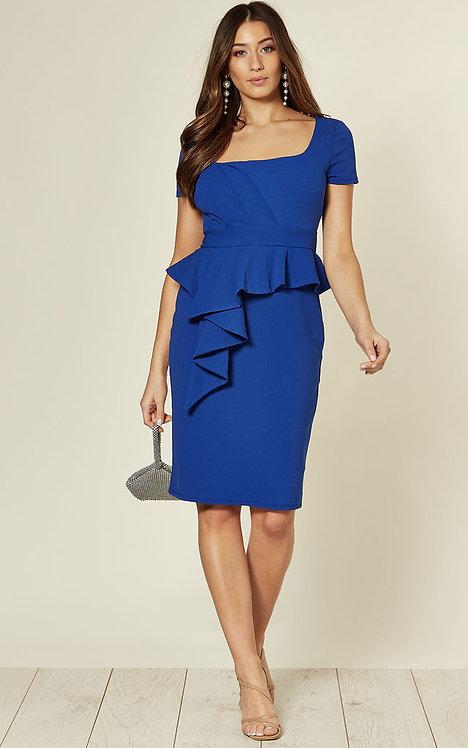 Royal blue side frill peplum dress