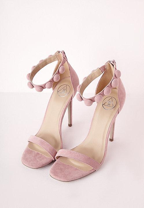 Pink Button Sandal Heels