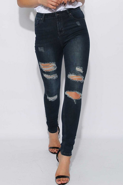 Navy ripped skinny jeans