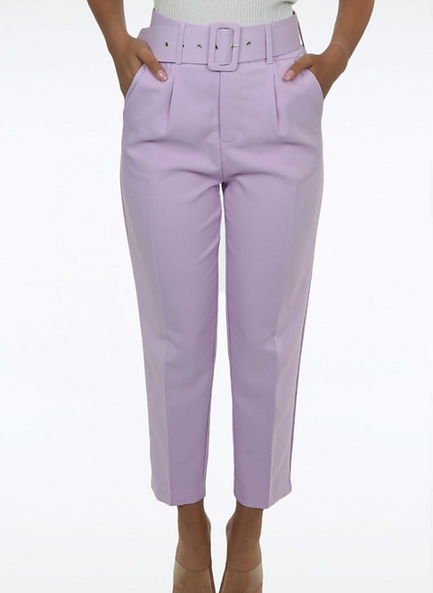 Lilac Tailored Belted Pants
