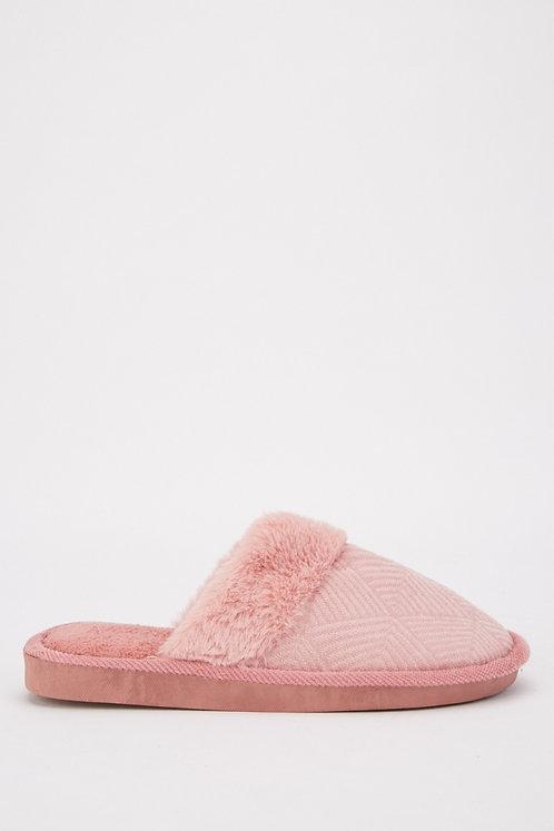 Fluffy mauve slippers