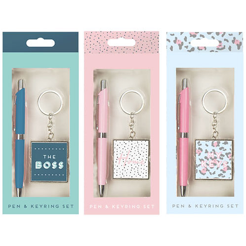 Key ring and pen gift set