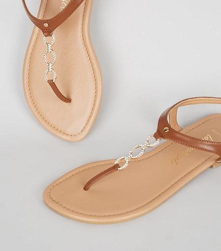 Tan embellished sandals