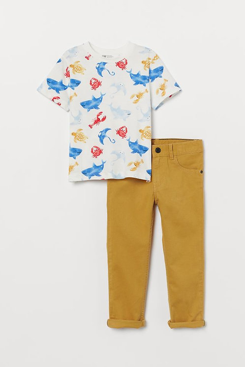 Boys shark t-shirt and trousers set