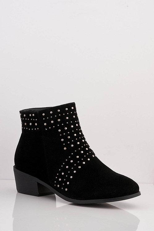 Black Silver Stud Boots
