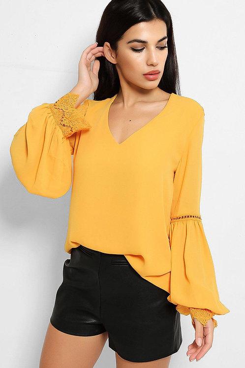 Mustard balloon sleeve top