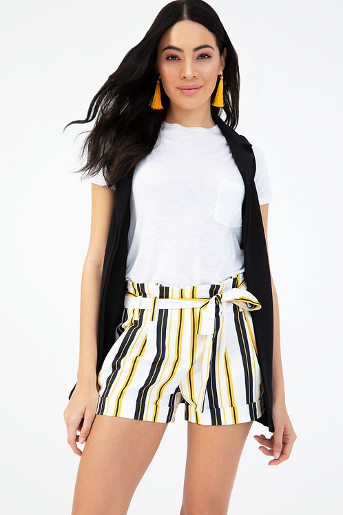 White, Black and Mustard Stripe Paper Bag Shorts