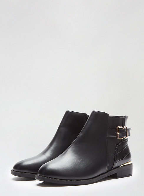 Mila Black Buckle Boots