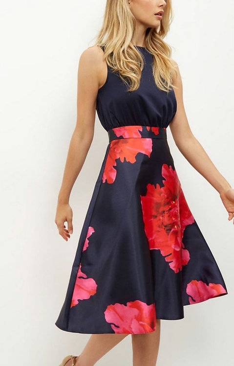 Navy and Red Floral Midi Skater Dress
