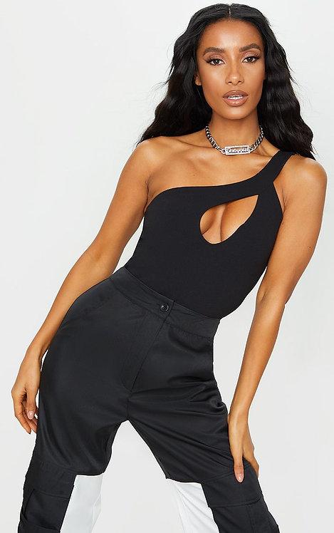 Crepe one shoulder bodysuit