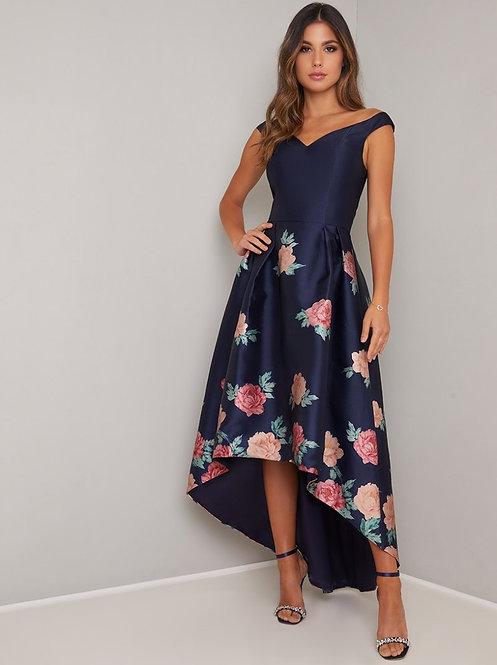 Navy floral low hem dress