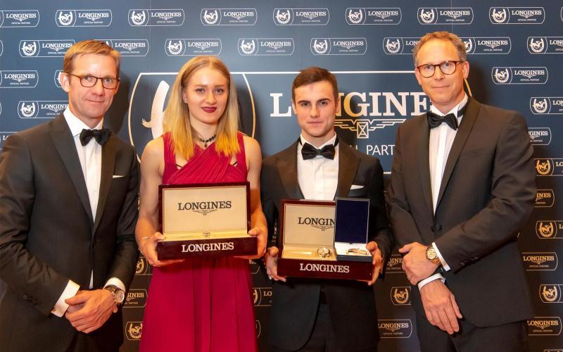 Élie Hennau (Président Fégentri), Lilli-Marie Engels (Éperon d'Or Cavalières 2018), Alberto Berton (Éperon d'Or Gentlemen-Riders 2018), Christophe Jeanneret (Directeur Longines Suisse)