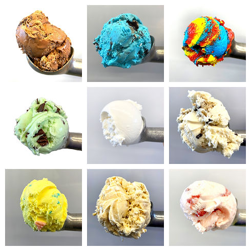 Scoops of ice cream, flavors, collage