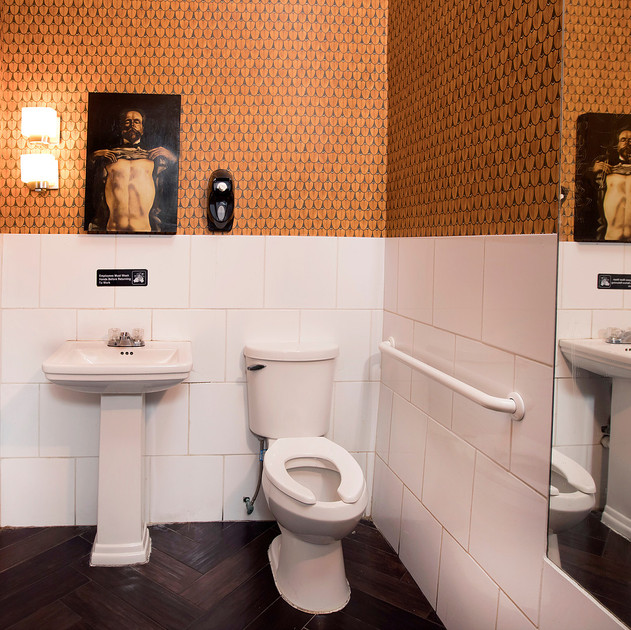 Cole & Son wallpaper commercial bathroom