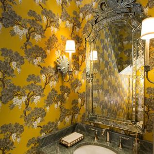 Cole & Son Wisteria wallpaper in bath