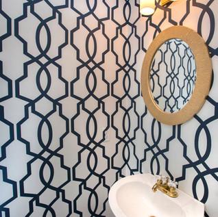 Geometric wallpaper bath