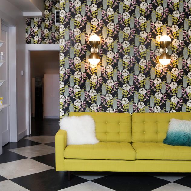 Abigail Borg floral wallpaper in salon