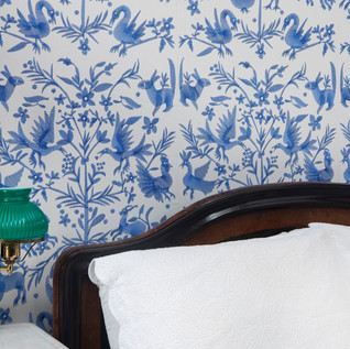 Custhom embroidered wallpaper in Otomi