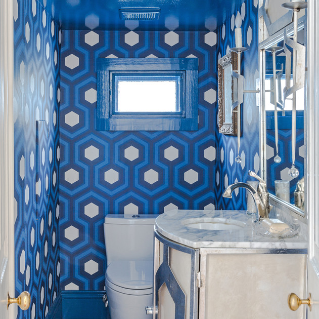 Cole and Son Hicks Hexagon Powder Room