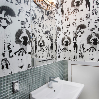 DuPenny whimsical wallpaper in commercial bath