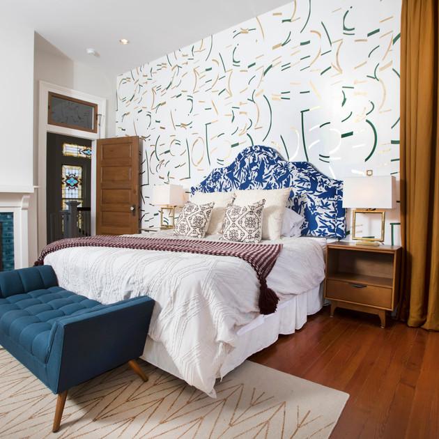 Custhom Offset metallic bedroom wallpaper