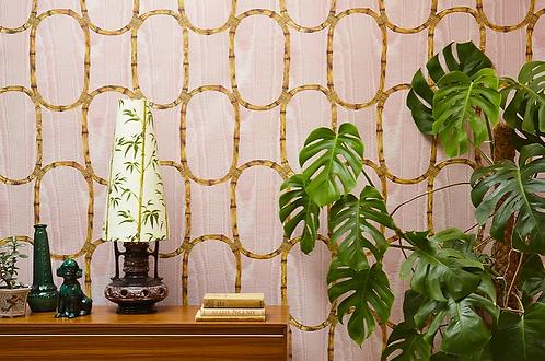Poodle and Blonde Tea Room Blossom Pink Wallpaper
