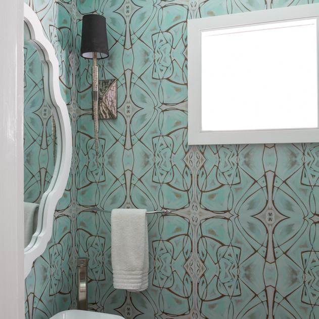 Amanda Talley wallpaper powder room
