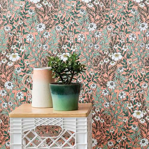 Abigail Borg Feverfew Pink Wallpaper