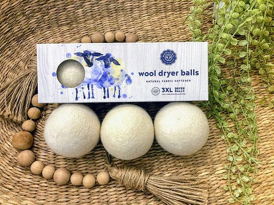 White Wool Dryer Balls - Set of 3