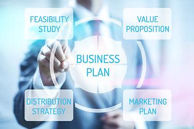 Business plan concept man touching virtu