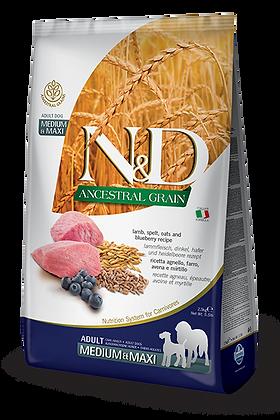 Farmina N&D Adult medium e maxi - ANCESTRAL GRAIN Agnello farro avena e mirtillo
