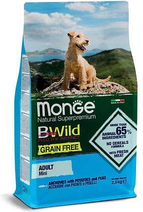 Monge BWild cane secco mini adult acciughe patate e piselli 2.5Kg