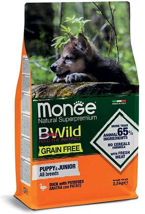 monge cane secco bwild all breeds puppy e junior anatra con patate 2.5Kg