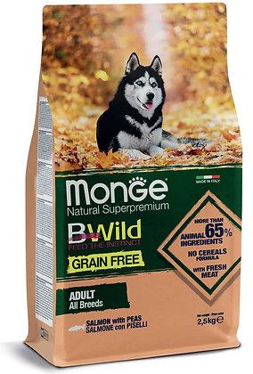 monge cane secco bwild all breeds adult salmone con piselli 2.5Kg