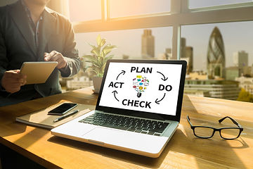 PDCA - Plan Do Check Act Thoughtful male