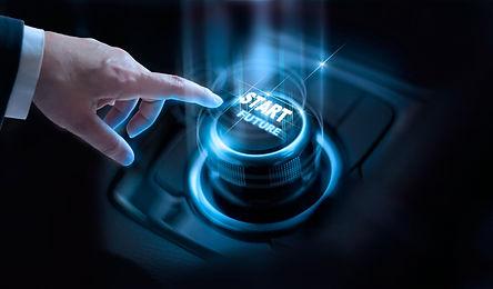Businessman press start future button wi