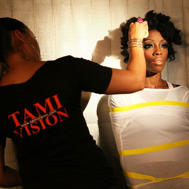 #TamiVsion On set with Natalique for B.O.S.S. 'Tricky Love' Video Shoot. photo by #GenieInABottlePhotography