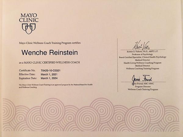 Wenche Reinstein Mayo Clinic Certified W