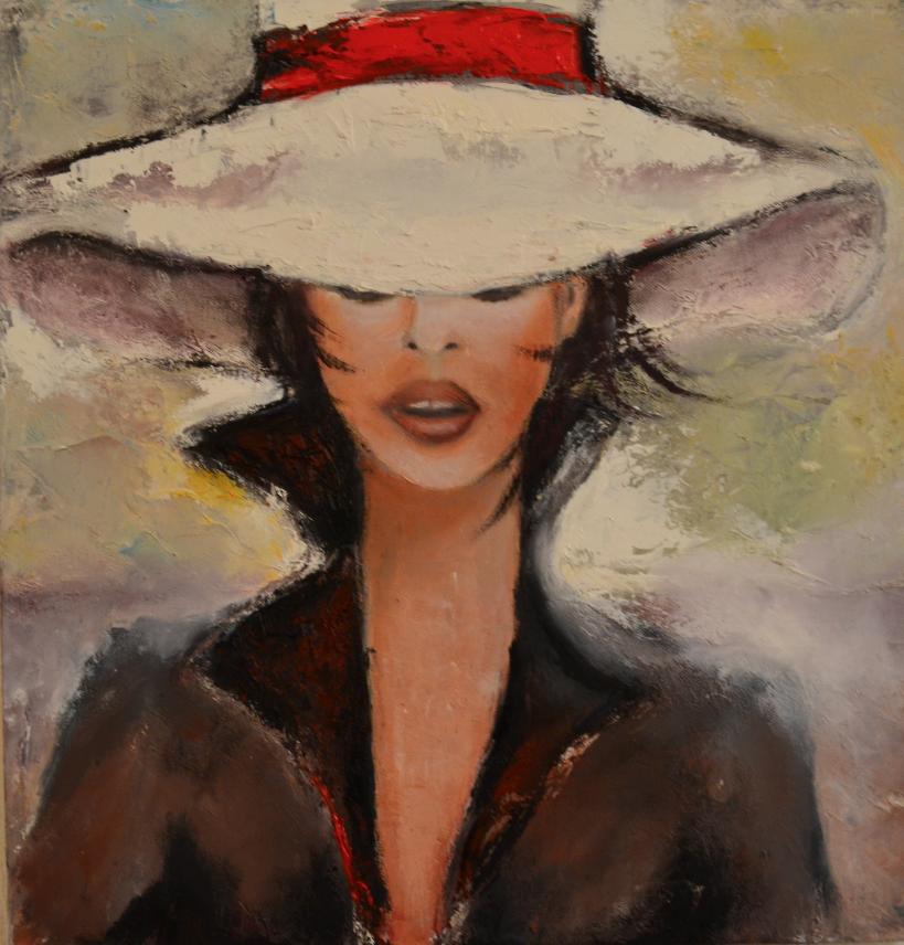 Chapeau Blanc       55 x 46   l'huile
