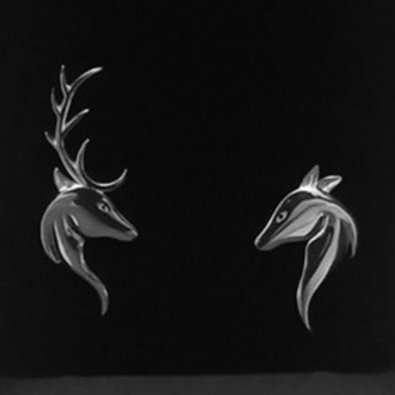 Stag & Doe Head Lapel Pin (925 Sterling Silver)