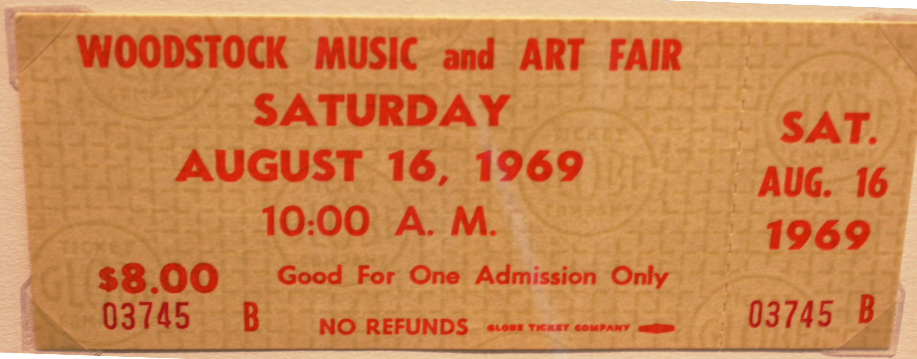 ART8: WOODSTOCK TICKET 03745