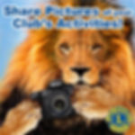 picture of a male lion holding a camera and suggesting for people to submit pictures of their club activities