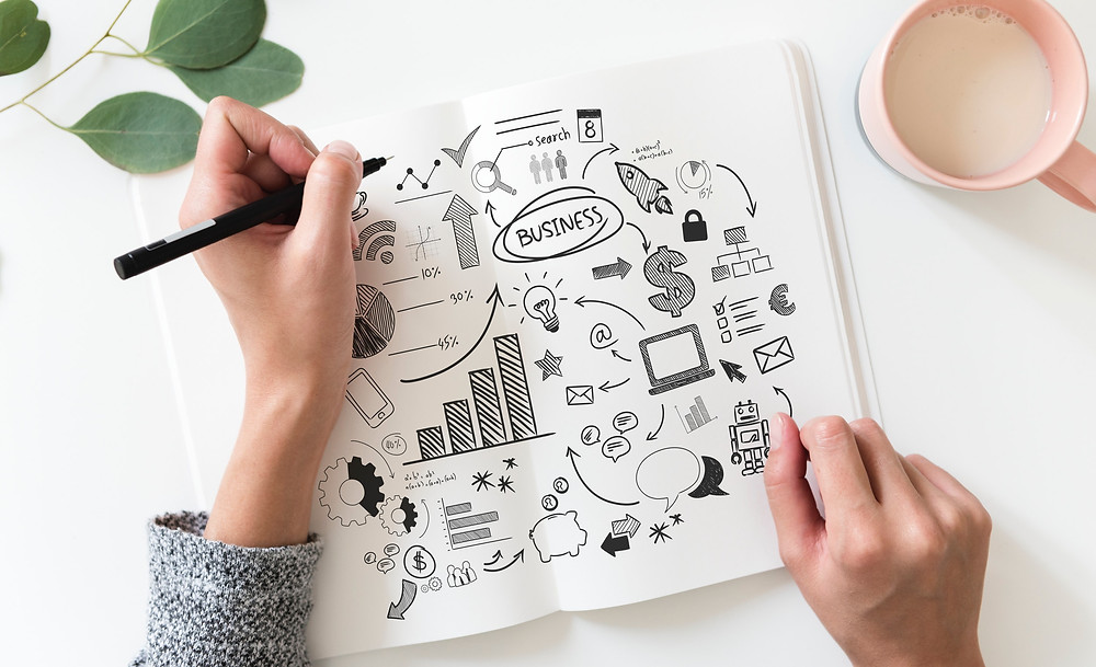 A female sketch artist is drawing in an open sketch book on a while table. The sketch is a doodle style info graphics of all the things to do to run a successful business.