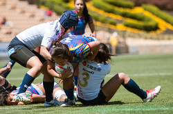 Women Rugby Players From Japan And Colombia Compete In Match