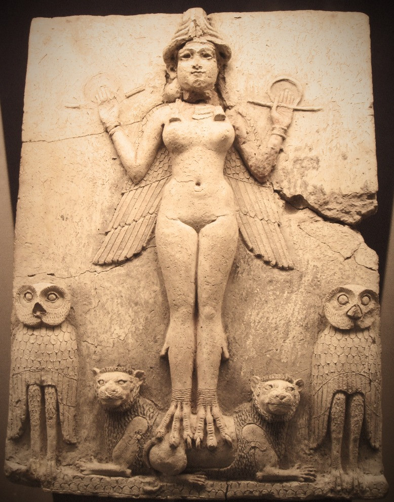 """Famous relief from the Old Babylonian period (now in the British museum) called the """"Burney relief"""" or """"Queen of the Night relief"""". The depicted figure could be an aspect of the goddess Ishtar, Mesopotamian goddess of sexual love and war. However, her bird-feet and accompanying owls have suggested to some a connection with Lilitu (called Lilith in the Bible), though seemingly not the usual demonic Lilitu"""